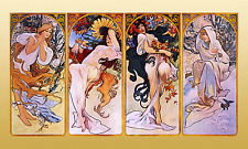 "Alphonse (Alfons) Mucha- Four Seasons - Art Nouveau -20""x40"" CANVAS ART"