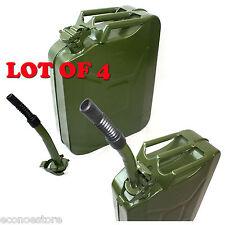 LOT 4 NATO 5 Gallon Jerry Can Gasoline Fuel Refill Steel Tank w/ Nozzle Military