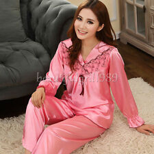NEW Womens Silk Satin Pajamas Set Sleepwear&Robes Nightdress Nightgown P055 L,XL