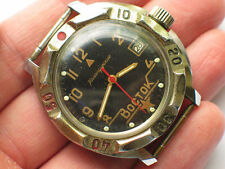 Rare soviet VOSTOK Komandirskie Military watch Nice BLACK Dial *Serviced*