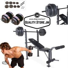 Weight Bench Set Press With Weights And Bar Dumbells Adjustable Gym 100 40 lb