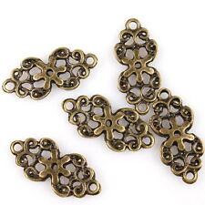 80x 145474 Fashion Antique Bronze Alloy Flowers Charms Hot Connectors Pendants