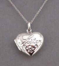 925 Sterling Silver Sister Locket Pendant Necklace Jewelry NEW