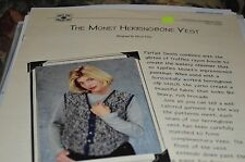 Knit One Crochet Too Knitting Pattern Monet Herringbone Vest 37-48""