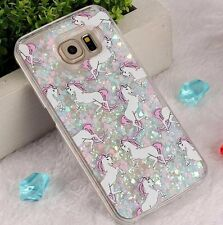 For Samsung Galaxy S6 - HARD CASE Flowing Waterfall UNICORN Liquid Glitter Heart