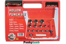 13pc Hollow Punch Set Hole Punch Tool Leather, Plastic, Foam, Fiber 5mm to 35mm