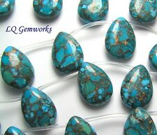 4 ea BLUE BRONZE KINGMAN TURQUOISE 13x18mm Teardrop Beads