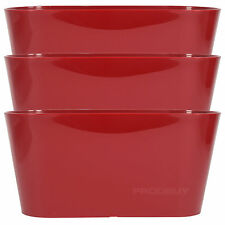 Set of 3 Red Oval Indoor Plant Pot Covers Planters Herb Troughs Window Boxes