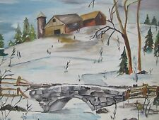 Winter Scene Oil on Canvas Painting barn stone bridge creek snow LM Huffman 1978