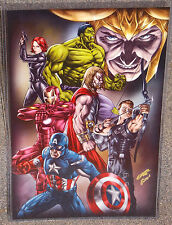 The Avengers With Loki Glossy Print 11 x 17 In Hard Plastic Sleeve