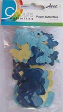 60 Die Cut Paper Butterflies Blue Yellow Card Making Scrapbooking Embellishment
