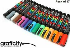 UNI POSCA POSTER PAINT MARKER PEN SET - PC-5M - 17 PACK - FAST SHIPPING