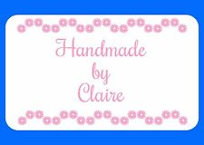 HAND MADE BY PERSONALISED GLOSSY STICKERS, SEALS LABELS SHABBY CHIC (211)