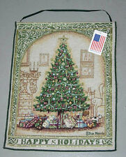 Christmas Elegance ~ Happy Holidays Tapestry Bannerette Wall Hanging w/Lights