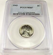 1943 1C Lincoln Cent Pcgs Ms67 ! Super Coin ! #6994