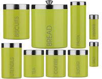 Lime Green Enamel Storage Canisters Set Tea Coffee Sugar Biscuits Jars Bread Bin