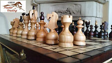 POSH ''ROYAL'' CHERRY WOODEN CHESS SET 50x50!!! STUNNING INLAID CHESS BOARD!