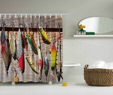 Colorful Fish Wooden Deck Graphic Shower Curtain Lures Tackle Hooks Bath Decor