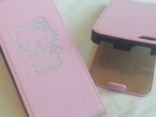 IPhone 5 HELLO KITTY IN VERA PELLE ROSA flip Phone Cover cinque Apple