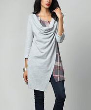 #41 Ladies Designer Grey French Terry Cloth & Plaid Cowl Neck Tunic UK 16 rrp£27