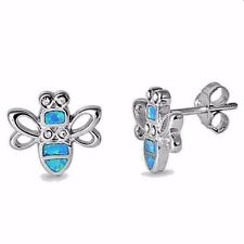 USA Seller Bumble Bee Earrings Sterling Silver 925 Best Price Jewelry Blue Opal