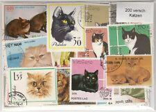 200 verschiedene Briefmarken mit Katzen , Katze , Kater , cat , cats , gato