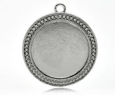 2 Silver Metal Round Picture Frame Charm Pendant, Cameo inside is 30mm chs0459