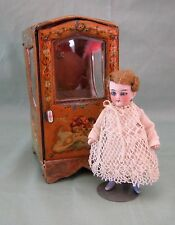 ANTIQUE FRENCH MUSICAL POCKET WATCH HOLDER OR DOLL SEDAN CHAIR CARRIER VITRINE