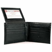 Alpine Swiss Mens Bifold Wallet Flip Out Removable ID Card Case Leather Passcase