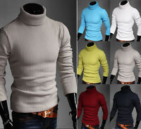 New Mens Roll Turtle Neck Slim Plain Polo Jumpers Knitted Sweaters Tops Casual