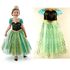 Girls Disney Frozen Princess Anna Satin Costume Party Dress Up Suits 3-4 years