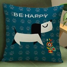 """""""Be Happy"""" Dog Cushion Cover"""