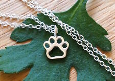 Dog Paw Print Animal Lover Openwork Charm Necklace Pets 925 Sterling Silver Vet