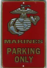 MARINES PARKING ONLY METAL SIGN Aluminum USMC Plaque NEW Embossed Armed Forces