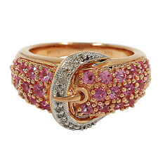 3444- 14K ROSE GOLD PINK SAPPHIRE AND DIAMOND BUCKLE RING 1.25TCW 7.37GRAMS
