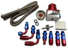 New Billet Fuel Pressure Regulator , Gauge , Oil Line ,  with Fittings , Red