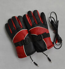 12V Warm Heated Heat Inner Motorcycle Motorbike Outdoor Gloves  RED
