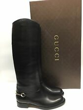 sz 39.5/9.5US  GUCCI BOOTS Black LEATHER EQUESTRIAN HORSEBIT DETAIL RIDING Boots