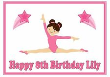 ND1 Pink Gymnastics splits girl birthday personalised A4 cake topper icing sheet