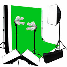 Continuous Photo Video Studio 3Softbox Lighting W/ Backdrop Photography Bulb Kit