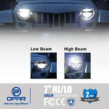 "Pair 7"" Inch Round LED Headlights High/Low Beam for Jeep Wrangler JK TJ 97-16"