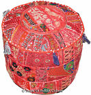"""Red 18"""" Handmade Round Ottoman~Pouf~Stool~Chair Pouffe Moroccan Indian Decor"""