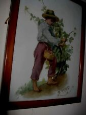 Crystoleum style picture, The Cherry Picker, signed by artist, 1908