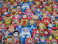1 Yard Quilt Cotton Fabric- Elizabeth Studios Russian Matryoshka Stacking Dolls
