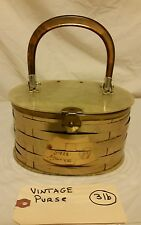 VINTAGE Metal and Lucite Box Basket Handle Purse Handbag