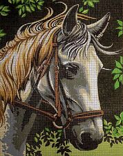 "Tapestry Gobelin Needlepoint Kit ""white horse""printed canvas embroidery 326"