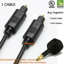 6FT Gold Digital Optic Audio Toslink Cable+ Optic Toslink to 3.5mm Mini adapter