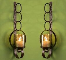 """NEW TUSCAN LARGE 39"""" SCROLL HAND FORGE IRON Candle Holder Wall Sconce SET/2"""