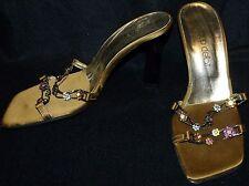 Vtg 90's COUP DE' ETAT womens shoes heels slide sandal rhinestone floral chain 8