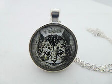 """ALICE IN WONDERLAND CHESHIRE CAT PICTURE ROUND SILVER PENDANT NECKLACE 18"""" B&W"""